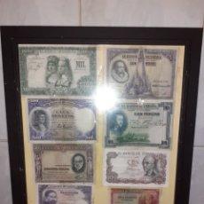 Billetes españoles: 3 CUADROS CON ANTIGUOS BILLETES ESPAÑOLES. Lote 217680796