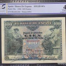Billetes españoles: PCGS 100 PESETAS 1906 RADAR CAPICUA SOLIDO 6666666 RARÍSIMO CLASICO. Lote 217941016