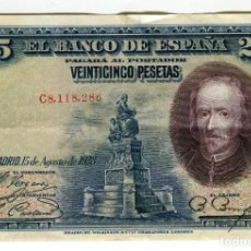 Billets espagnols: 25 (VEINTICINCO) PESETAS 15 DE AGOSTO DE 1928 CALDERON DE LA BARCA. Lote 218313226