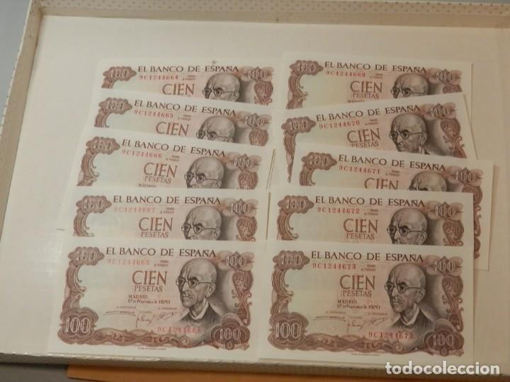 Billetes españoles: 10 BILLETES CORRELATIVOS SIN CIRCULAR SERIE ESPECIAL 9C, 100 PESETAS 1970. - Foto 2 - 218348463