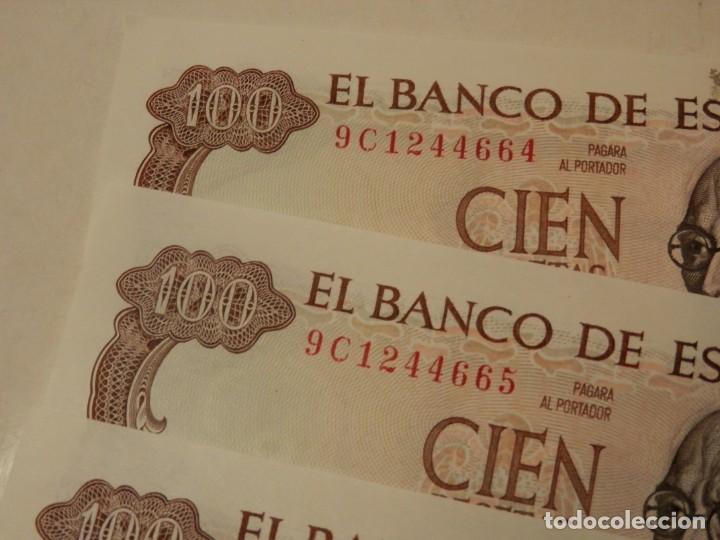 Billetes españoles: 10 BILLETES CORRELATIVOS SIN CIRCULAR SERIE ESPECIAL 9C, 100 PESETAS 1970. - Foto 3 - 218348463