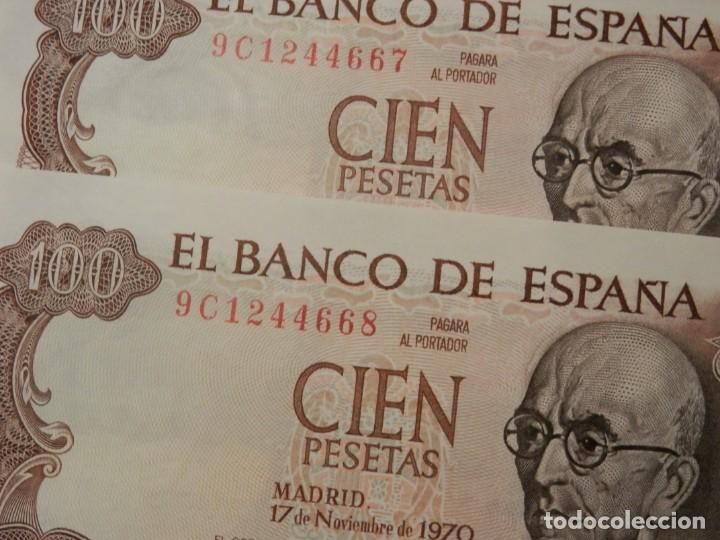 Billetes españoles: 10 BILLETES CORRELATIVOS SIN CIRCULAR SERIE ESPECIAL 9C, 100 PESETAS 1970. - Foto 4 - 218348463