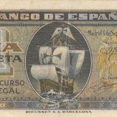 Billetes españoles: BILLETE: 1 PESETA BANCO ESPAÑA EMISION 4 SEPTIEMBRE 1940. Lote 218399007