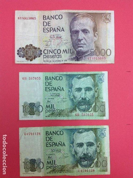 1 BILLETE 5000 PESETAS 1979 REY JUAN CARLOS Y 2 BILLETES DE 1000 PESETAS JUAN RAMÓN JIMÉNEZ (Numismática - Notafilia - Billetes Españoles)
