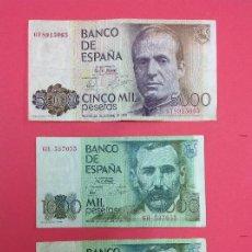 Billetes españoles: 1 BILLETE 5000 PESETAS 1979 REY JUAN CARLOS Y 2 BILLETES DE 1000 PESETAS JUAN RAMÓN JIMÉNEZ. Lote 218733102