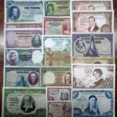 Billetes españoles: 20 BILLETES DE ALFONSO XIII, 2ª REPUBLICA Y DEL ESTADO ESPAÑOL. LOTE 1516. Lote 218806433