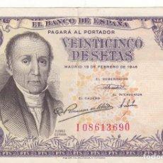 Billetes españoles: BILLETE: 25 PESETAS BANCO ESPAÑA EMISION 19 FEBRERO 1946. Lote 219299403