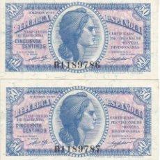 Banconote spagnole: PAREJA CORRELATIVA DE 50 CÉNTIMOS DEL AÑO 1937 SERIE B SIN CIRCULAR-PLANCHA - REPUBLICA ESPAÑOLA. Lote 219365401