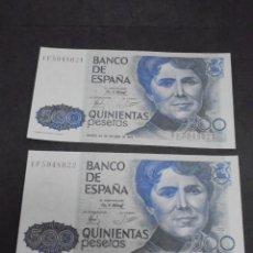 Billetes españoles: PAREJA DE BILLETES. CORRELATIVOS. 500 PESETAS. ESPAÑA. 1979. ROSALIA DE CASTRO. VER. Lote 219376557
