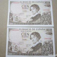 Billetes españoles: 100 PESETAS DE 1965 PAREJA CORRELATIVA SIN SERIE-533/534 PRECIOSOS. Lote 219444428