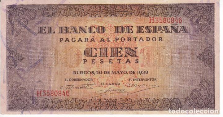 BILLETE DE BURGOS DE 100 PESETAS DEL AÑO 1938 DE LA SERIE H EN CALIDAD EBC (Numismática - Notafilia - Billetes Españoles)