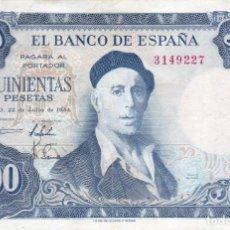 Billetes españoles: BILLETE DE 500 PESETAS DEL AÑO 1954 DE IGNACIO ZULOAGA SIN SERIE (RARO). Lote 219537245