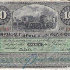 Billetes españoles: BILLETE DE 10 PESOS DEL BANCO ESPAÑOL EN LA ISLA DE CUBA AÑO 1896 (FIRMA AZUL) SIN CERTIFICADO PLATA. Lote 219628458