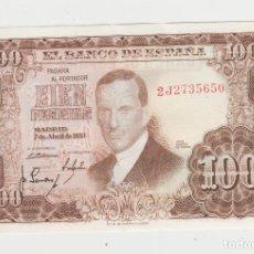 Billetes españoles: 100 PESETAS- 7 DE ABRIL DE 1953- SERIE 2J-SC-. Lote 219965235