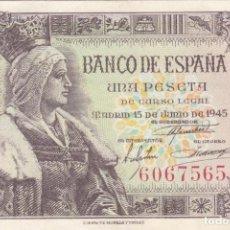 Billetes españoles: BILLETE: 1 PESETA BANCO DE ESPAÑA EMISION 15 JUNIO 1945 / SIN SERIE 6067565 - EXCELENTE CONSERVACION. Lote 220069716