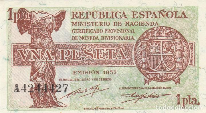 BILLETE REPUBLICA ESPAÑOLA - 1 PESETA 1937 PLANCHA (Numismática - Notafilia - Billetes Españoles)