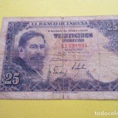 Billetes españoles: BILLETE 25 PESETAS JULIO 1954 SERIE N. Lote 220660373