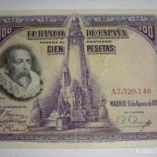 Billetes españoles: 100 PESETAS. CERVANTES. 1928. SERIE A. Lote 221143926
