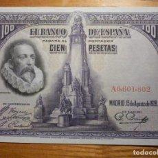 Billetes españoles: BILLETE 100 PESETAS - 15 DE AGOSTO 1928 - CERVANTES - ALFONSO XIII - S/C -. Lote 221280596