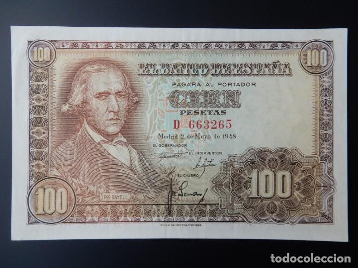 EBC+ - SERIE D - BILLETE DE 100 PESETAS DE 1948 - FRANCISCO BAYEU (Numismática - Notafilia - Billetes Españoles)