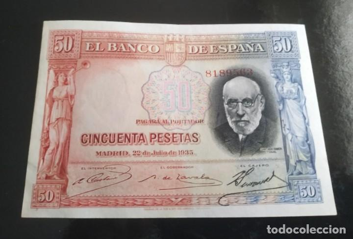 50 PESETAS 1935 BICOLOR RARISIMO (Numismática - Notafilia - Billetes Españoles)