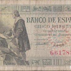 Billetes españoles: BILLETES ESPAÑOLES-ESTADO ESPAÑOL 5 PESETAS 1945 (SERIE G) (BC+). Lote 221560293