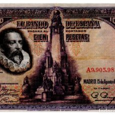 Billetes españoles: BILLETE DE ESPAÑA DE 100 PESETAS DE 1928 CIRCULADO CERVANTES. Lote 221566522