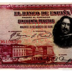 Billetes españoles: BILLETE DE ESPAÑA DE 50 PESETAS DE 1928 CIRCULADO VELAZQUEZ. Lote 221566570