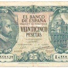Billetes españoles: BONITO Y BILLETE DE 25 PESETAS DE 9 DE ENERO DE 1940, DE LA SERIE E. LOTE 1532. Lote 221771925