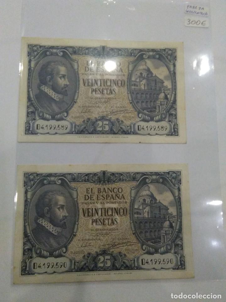 NUMISMATICA REQUEJO PAREJA BILLETES CORRELATIVOS 9 ENERO 1940 25 PESETAS (Numismática - Notafilia - Billetes Españoles)