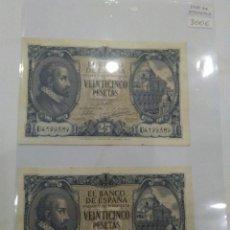 Billetes españoles: NUMISMATICA REQUEJO PAREJA BILLETES CORRELATIVOS 9 ENERO 1940 25 PESETAS. Lote 221882527