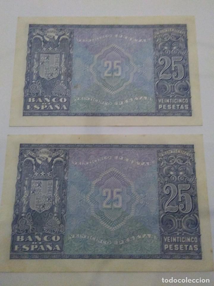Billetes españoles: NUMISMATICA REQUEJO PAREJA BILLETES CORRELATIVOS 9 ENERO 1940 25 PESETAS - Foto 2 - 221882527
