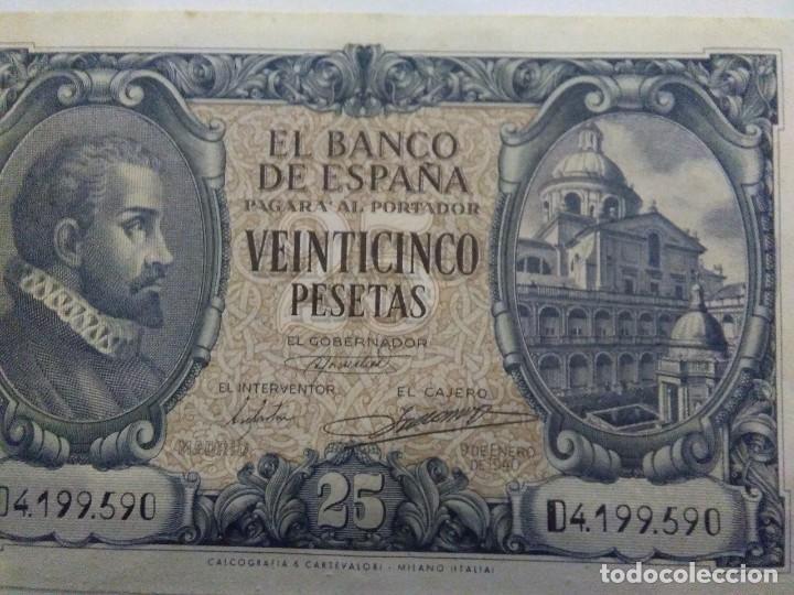 Billetes españoles: NUMISMATICA REQUEJO PAREJA BILLETES CORRELATIVOS 9 ENERO 1940 25 PESETAS - Foto 3 - 221882527