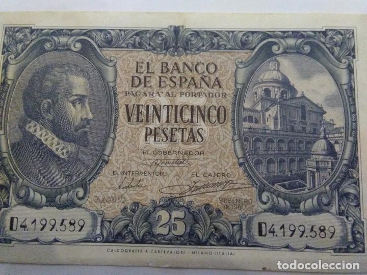 Billetes españoles: NUMISMATICA REQUEJO PAREJA BILLETES CORRELATIVOS 9 ENERO 1940 25 PESETAS - Foto 4 - 221882527