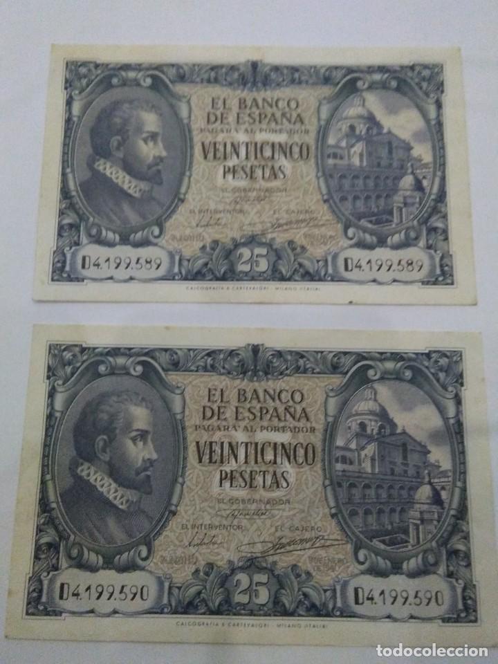 Billetes españoles: NUMISMATICA REQUEJO PAREJA BILLETES CORRELATIVOS 9 ENERO 1940 25 PESETAS - Foto 5 - 221882527
