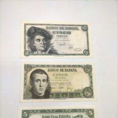 Billetes españoles: TRES BILLETES DE 5 PESETAS DE DIFERENTES FECHAS INMEJORABLES. PERFECTO ESTADO. Lote 221889388