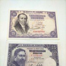 Billetes españoles: DOS BILLETES DE 25 PESETAS DE DIFERENTES ÉPOCAS EN PERFECTO ESTADO INMEJORABLES.. Lote 221890045