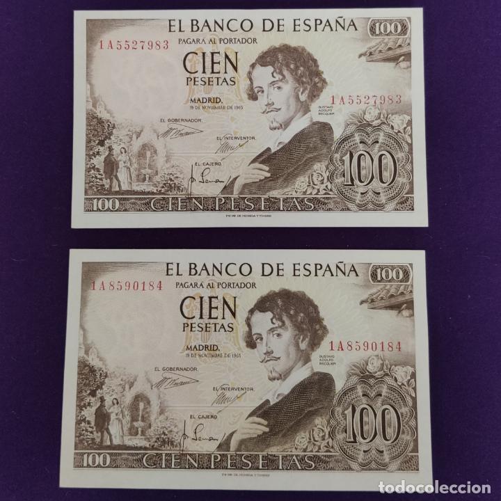 2 BILLETES ESPAÑOLES DE 100 PESETAS. 1965 - BECQUER. CASI SIN CIRCULAR. (Numismática - Notafilia - Billetes Españoles)