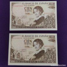 Billetes españoles: 2 BILLETES ESPAÑOLES DE 100 PESETAS. 1965 - BECQUER. CASI SIN CIRCULAR.. Lote 221921077