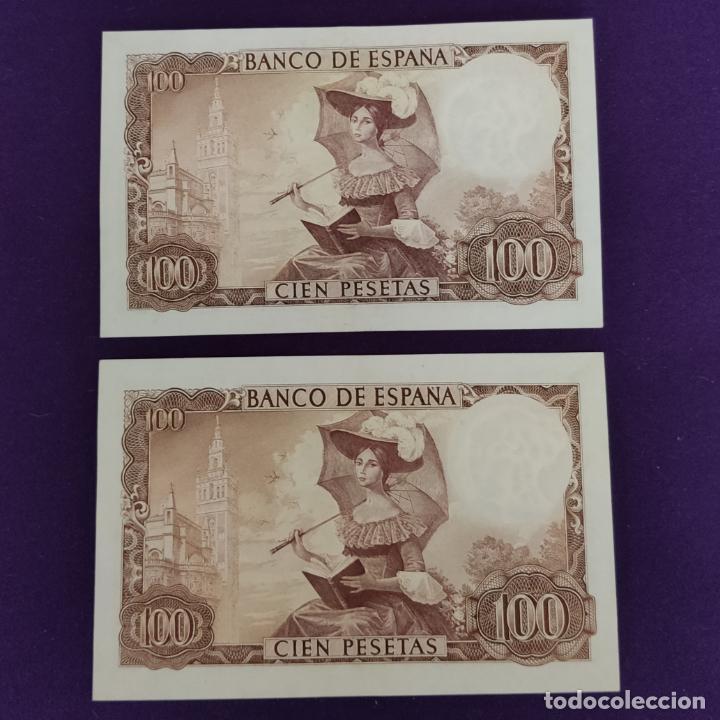 Billetes españoles: 2 BILLETES ESPAÑOLES DE 100 PESETAS. 1965 - BECQUER. CASI SIN CIRCULAR. - Foto 2 - 221921077