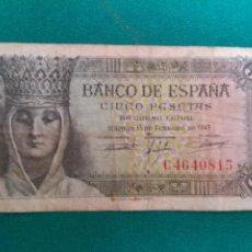 Billetes españoles: CINCO PESETAS - AÑO 1943. Lote 222095670