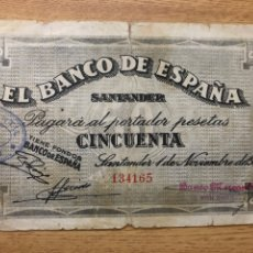 Billetes españoles: SANTANDER 1936 50 PESETAS. Lote 222099178