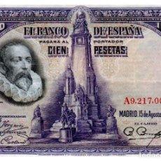 Billetes españoles: BILLETE DE ESPAÑA DE 100 PESETAS DE 1928 CIRCULADO CERVANTES. Lote 222411985
