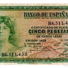 Billetes españoles: BILLETE DE ESPAÑA DE 5 PESETAS DE 1935 MUY CIRCULADO. Lote 222413457