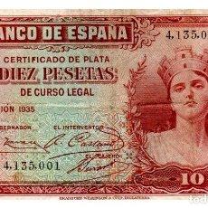 Billetes españoles: BILLETE DE ESPAÑA DE 10 PESETAS DE 1935 MUY CIRCULADO. Lote 222413510