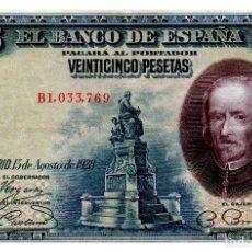 Billetes españoles: BILLETE DE ESPAÑA DE 25 PESETAS DE 1928 CIRCULADO CALDERON DE LA BARCA. Lote 222413551
