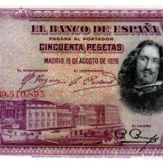 Billetes españoles: BILLETE DE ESPAÑA DE 50 PESETAS DE 1928 CIRCULADO VELAZQUEZ. Lote 222413587