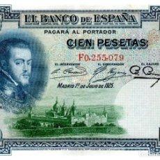 Billetes españoles: BILLETE DE ESPAÑA DE 100 PESETAS DE 1925 CIRCULADO FELIPE II. Lote 222413653