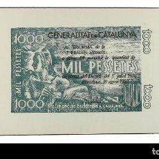 Billetes españoles: GENERALITAT DE CATALUNYA 1000 PESSETES. DOS PRUEBAS DE COLOR. Lote 222418167