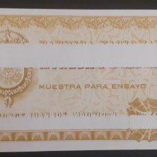 Billetes españoles: MUESTRA PARA ENSAYO PRUEBA CALCOGRAFICA 509 FNMT S/C VERDE CLARO IMPRESION PARCIAL. Lote 222417483